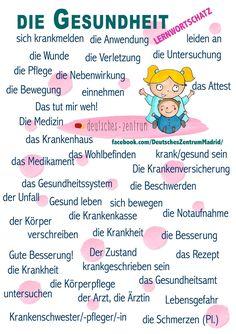 the health / la salud - Bildung German Grammar, German Words, Teaching French, Teaching Spanish, Study German, Deutsch Language, German Language Learning, Spanish Lessons, French Lessons