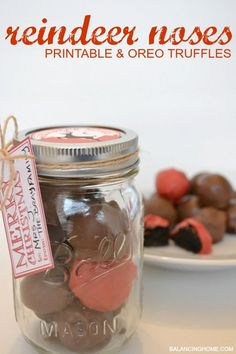 Wrap up these cute Oreo truffles in a mason jar with a cute gift tag and reindeer noses jar topper. Fun little reindeer noses! And these are to die for. So simple and so yummy!
