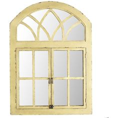Pier 1 Imports Garden Window Mirror ($229) ❤ liked on Polyvore featuring home, home decor, mirrors, yellow, aged mirror, yellow home decor, distressed home decor, distressed window mirror and pier 1 imports