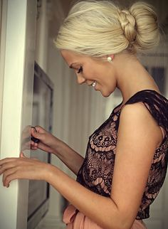 Cute low bun with braid wrap fashion... click on pic for more