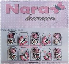 Adesivo de unha floral c/ borboleta | Nara Artes e Decorações | Elo7