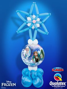 You need this column for your Frozen Party! This blue and white balloon column is created with a Bubble Balloon® featuring Elsa, Anna and Olaf* and topped with a snowflake. *Disney licensed product, other items not Disney licensed product ©Disney Frozen Balloons, Princess Balloons, Bubble Balloons, Balloon Arrangements, Balloon Centerpieces, Balloon Decorations, Frozen Themed Birthday Party, Disney Princess Birthday, Olaf
