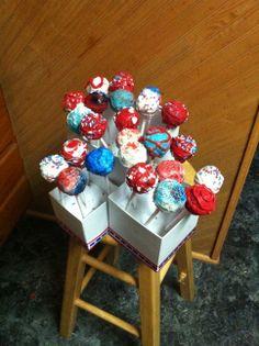 Red, White and Velvet! Happy Fourth of July: Red velvet cream cheese cake pops covered in white chocolate #holiday #baking #cakepops #dessert #merica #4thofjuly