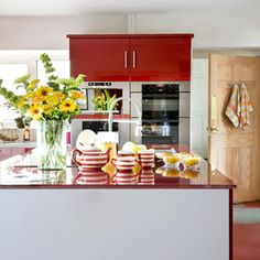 Chic Red U0026 White Kitchen Design