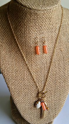 Gold and Coral Inspire Charm Necklace Set
