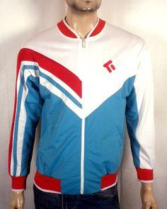 vtg 80s Todd 1 slick finish tri-acetate Track Jacket zip up Colorblock indie S