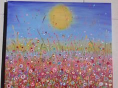 "Summer meadows.... ""Here is a couple of acrylic canvas' I finally finished today.  This one below is done in acrylics, and glitter glue which in the right light changes the whole effect and the photo's really don't do it justice (even when taken on an angle to show the shimmery and sparkle effect!) Canvas size:  50 x 60 x 1.5cm, Price:  $150.00 (Made-By-Me....Julie Ryder: August 2012)"