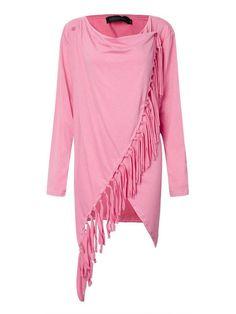Casual Women Irregular Fringed Solid Long Sleeve Loose T-shirt