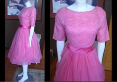Vintage 1950s Pink Chiffon and Lace Prom Dress Party Cocktail Mad Men Metal Zipper by WestCoastVintageRSL, $118.00