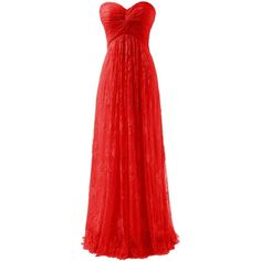 Diyouth Long Strapless Lace Flower Bridesmaid Dresses Chiffon Prom... ❤ liked on Polyvore featuring dresses, long red dress, strapless prom dresses, lace bridesmaid dresses, red bridesmaid dresses and chiffon prom dresses
