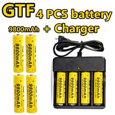 GTF 18650 Battery 4 Pc/set 3.7V Li-ion 9800mAh Rechargeable Battery With Charging Dock For Flashlight Batery Litio Battery