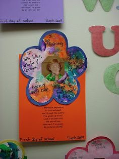 I started in September  So cute and small,  And through the months  I've grown up so tall.  Look at my portraits  And you will see,  How much I've grown –  My pictures and ME!  This is always the first thing parents see when they walk into my classroom for our big art show. It makes the perfect end of the year gift for the parents too.