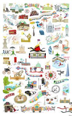 London Puzzle by 민아킴아트 on Grafolio Banksy Art, Graffiti, Cartoon Museum, Cleopatra's Needle, Victoria Memorial, London Transport Museum, Millennium Bridge, Red Bus, Travel Drawing
