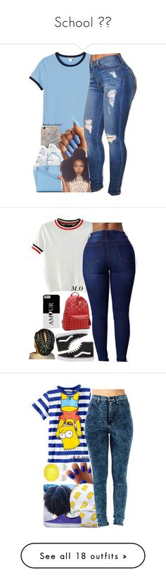 """""""School 💎💎"""" by prnxcessbarbiedolll ❤ liked on Polyvore featuring Monki, Anthropologie, NIKE, MICHAEL Michael Kors, Vans, WithChic, MCM, H&M, River Island and Reeds Jewelers"""