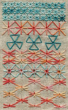 Crazy Quilt Stitches, Basic Embroidery Stitches, Embroidery Sampler, Embroidery Needles, Embroidery Patterns, Cross Stitch Patterns, Quilt Patterns, Crochet Patterns, Chicken Scratch Embroidery