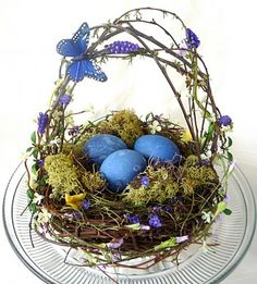 Blue vegetable dyed eggs.