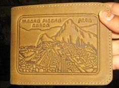 Echt Leder #Geldbörse aus #Peru mit #Machupichu Gravur.