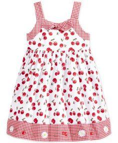 Blueberi Boulevard Little Girls' Cherry-Print Gingham Dress