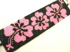 Tahiti Beadwoven Peyote Bracelet in Pink and by MadeByKatarina