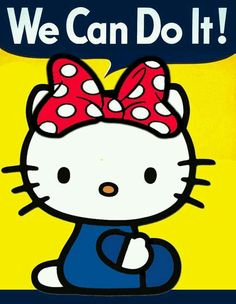 "Hello Kitty ""We Can Do It! homage to Rosie the Riveter Hello Kitty ""We Can Do It! homage to Rosie the Riveter Sanrio Hello Kitty, Hello Kitty Art, Hello Kitty Pictures, Here Kitty Kitty, Kitty Cam, Pin Up Vintage, Little Twin Stars, Little Girls, Pattern Texture"