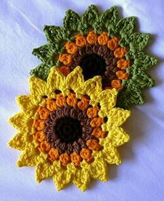 Sunflower Coasters and Placemats - Free Crochet Pattern by Happy Heart Fiber Ar . Sunflower Coasters and Placemats - Free Crochet Pattern by Happy Heart Fiber Art. , Sunflowers Coasters and placemats - free crochet pattern by Happy . Crochet Potholders, Crochet Motifs, Crochet Flower Patterns, Crochet Flowers, Knitting Patterns, Crochet Placemats, Crochet Coaster Pattern, Potholder Patterns, Crochet Fall