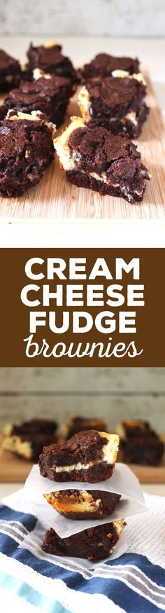 These cream cheese fudge brownies are decadently delicious! A smooth cream cheese layer is sandwiched between two layers of chocolate fudge.   honeyandbirch.com