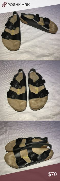 Birkenstock Milano black leather sandals size 15 Nice like new Birkenstock Milano sandals that have the black leather straps. They have minimal wear and are perfect for the end of summer and fall. You can even wear these with socks!! Birkenstock Shoes Sandals & Flip-Flops