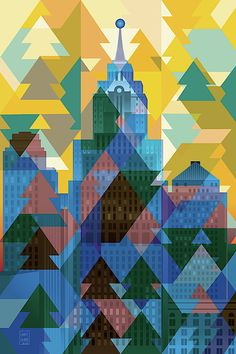 Detroit December Morning by Garth Glazier. View toward the river. The city is bathed in the frozen mist of a December morning. Graphic Design Illustration, Illustration Art, Detroit Skyline, City Art, Geometric Art, Quilting Designs, Quilt Patterns, Digital Art, Blue Tones