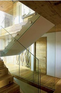 wood and glass stairs, rustic modern