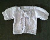 Gilet à noeud - Lavande : Mode Bébé par fan-de-tricot