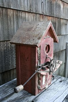 Red Seed Broadcaster Bird house