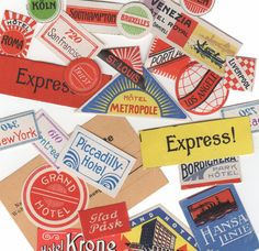 25pcs Tiny ANTIQUE TRAVEL STICKERS Luggage Label Reproduction Images http://www.etsy.com/shop/cOveTableCuriOsitiEs