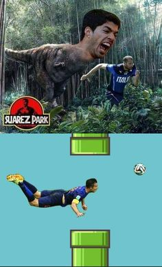 The Most Hilarious World Cup Memes — Suarez (Jurassic) Park and Flappy Van Persie Funny Football Memes, Funny Sports Memes, Sports Humor, Lionel Messi, Really Funny Memes, Hilarious Memes, Soccer Pro, World Cup, Funny Pictures