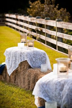 Drape lace over haybales outdoor country wedding ideas