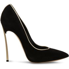 Casadei Blade ($750) ❤ liked on Polyvore featuring shoes, pumps, heels, sapatos, scarpe, black and gold, black and gold pumps, black and gold shoes, casadei and heels & pumps