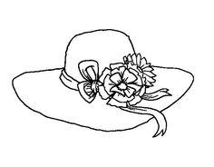 6e05371b60472 Dibujo de Sombrero con flores para Colorear Dibujos De Sombreros
