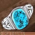 Sterling Silver American Indian Navajo Sleeping Beauty Turquoise Bracelet