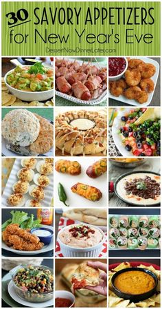 30 Savory Appetizers for New Year's Eve - from chips and dip to shrimp roll-ups or cheesy snacks you will find something deliciously savory to bring to your New Year's Eve Party! 30 Savory Appetizers f New Years Eve Snacks, New Year's Snacks, New Years Eve Dessert, New Year's Eve Appetizers, New Years Eve Dinner, Yummy Appetizers, Appetizer Recipes, Savory Snacks, Appetizers For New Years