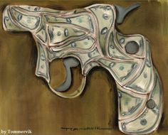 TOMMERVIK HAND GUN PISTOL MONEY ART ORIGINAL PAINTING #Abstract