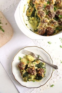 spinach casserolle cheese Spinach Meatball Potato Casserole