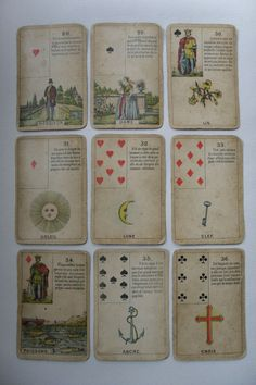 """[Geûens-Seaux Lenormand [Petit Jeu de Madame Lenormand] Card number 27 reads: """"Déposé en France et en Belgique, Geûens-Seaux, Bruges"""" Daveluy, Belgium made this deck from 1840 to 1895 and his heir Geûens-Seaux continued between 1895 and 1901. In 1901, the Geûens Seaux company changed its name to Geûens-Willaert, all decks published under the name Geûens-Seaux date from the period between 1895 and 1901."""