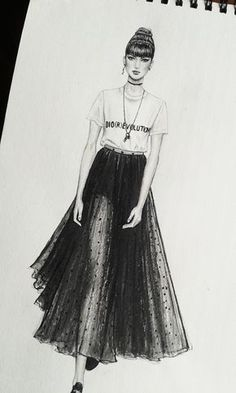 Sheila Brown, Philadelphia 2017, I like the way the illustrator has incorporated the dark tones to the lighter tones on the skirt. i would love to learn how to make the leg look effortless with a sheer overlay. I think this illustrator has used graphite pencil and black coloured pencil