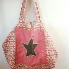 Grand sac cabas xl en tissu, rose, poche et étoile brodé