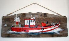 Bateau de pêche. Peinture sur bois.
