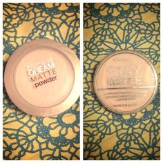 REVIEW!!!! Maybelline dream matte powder vs. Rimmel London stay matte powder.         Maybelline-has a smoother texture than Rimmel and keeps face shine free longer. Also has a less powder finish.             Rimmel-keeps face shine free for a good couple of hours but by the end of the day, I'm a hot oily mess.   Conclusion-if you are extremely oily, dream matte us for you but if you have mor combination skin, I would recommend stay matte.            Hope this helped lovelies!!! Peace. Love…