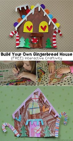 Crafts for Kids | {Free} Build-Your-Own Gingerbread House printable craftivity template