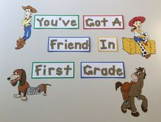 Display projects of from the class, or just post this as a decoration. This bulletin board design is sure to make students feel welcome. Font used looks like wood. Word strips are 3 tall.