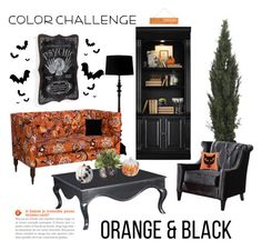 """Color Challenge: Orange & Black"" by saifai ❤ liked on Polyvore featuring interior, interiors, interior design, home, home decor, interior decorating, Grandin Road, Hooker Furniture, Threshold and Madison Park"