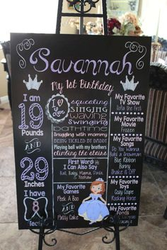 Chalkboard sign at a Sofia the First birthday party! See more party ideas at CatchMyParty.com!