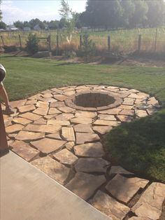 Flag stone pad and stone fire pit